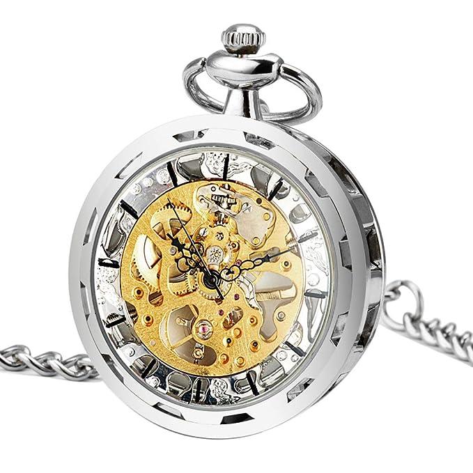 Reloj esqueleto estilo Steampunk con cadena y muy buena calidad.
