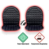 VaygWay 12V Heated Car Seat Cushion- 2pk 1 Integrated Plug- Car Auto Seat Heater Warmer-Temperature Control Timer Adjustment- Fireproof Anti-Flammable Extremely Safe