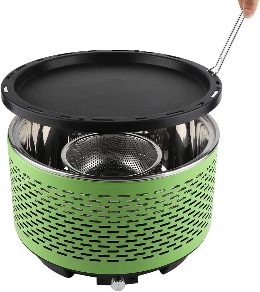 Estink Smokeless Charcoal BBQ Indoor Portable Round Stainless Steel Charcoal Barbecue Grills for Garden Outdoor
