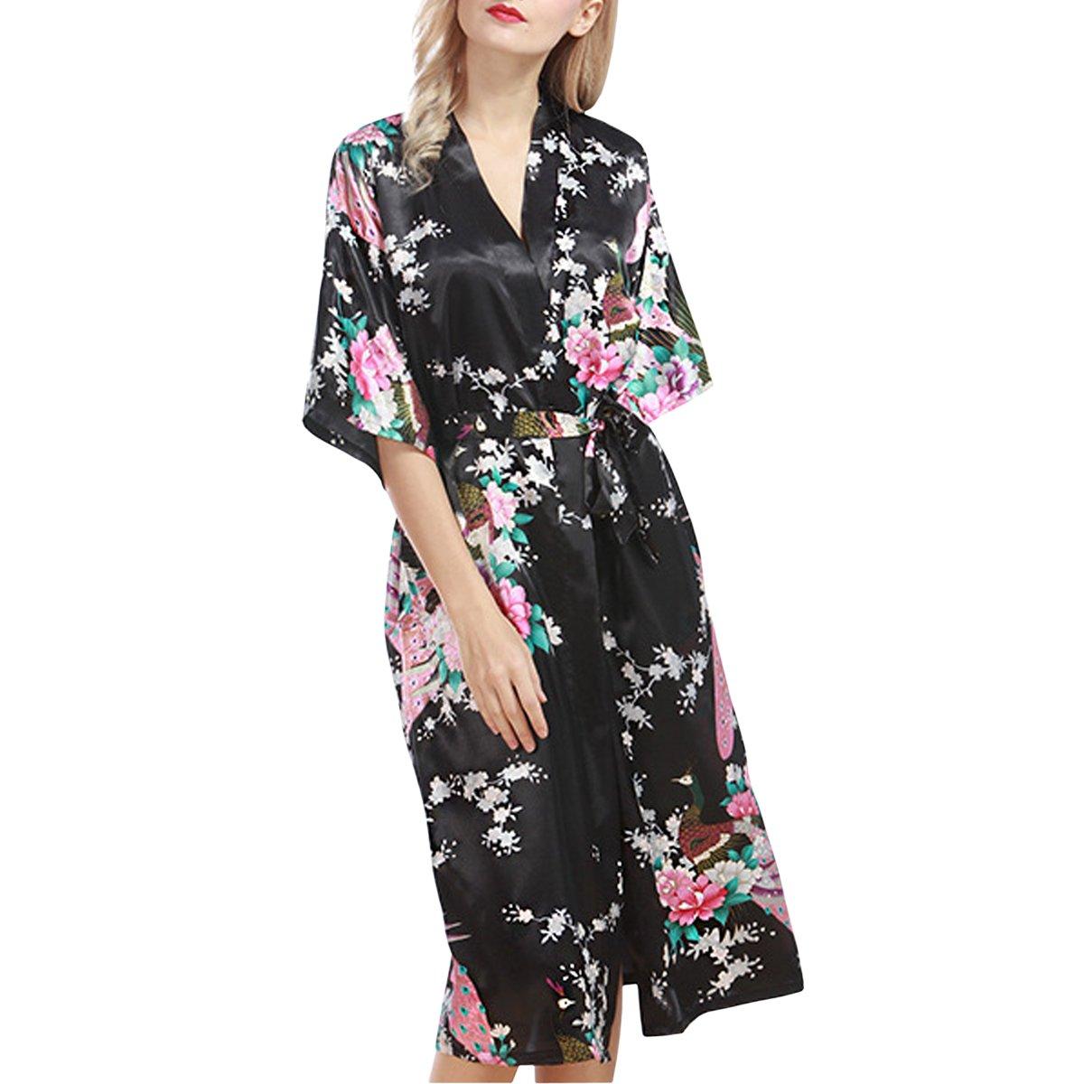 Sidiou Group Bata de Sat/én Vestido Kimono Largo Mujer Camis/ón Pijamas Ropa de Dormir Albornoz Saten