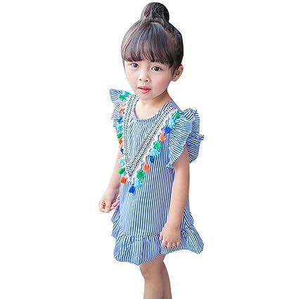 Vestidos niña Bebé ❤ Amlaiworld Ropa bebés Niñas Vestidos de volantes con borlas a rayas