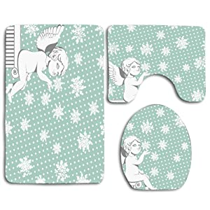 NEWcocoCool Skidproof Toilet Seat U Shape Cover Bath Mat Lid Cover for BathroomChristmas Winter Holidays Themed Xmas Snowflakes with Angel