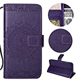 Stysen Galaxy J5 2016 Wallet Case,Galaxy J5 2016 Floral Case,Pretty Elegant Embossed Totem Flower Pattern Purple Bookstyle Magnetic Closure Pu Leather Wallet Flip Case Cover with Wrist Strap and Stand Function for Samsung Galaxy J5 2016-Totem Flower,Purple