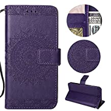 Stysen Galaxy Note 9 Wallet Case,Galaxy Note 9 Floral Case,Pretty Elegant Embossed Totem Flower Pattern Purple Bookstyle Magnetic Closure Pu Leather Wallet Flip Case Cover with Wrist Strap and Stand Function for Samsung Galaxy Note 9-Totem Flower,Purple