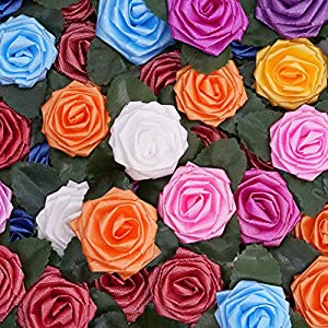 Shallylu 200Pcs Rose Heads Artificial Flowers, Fake Rose Flowers Heads with Adhesive Sticker Colorful Artificial Roses DIY Stickers for Wedding Home Party Garden Gift Decorations 81