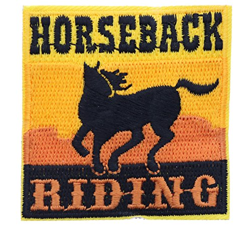 Sunset Horseback Riding 2 inch small Iron on Patch Ava2770