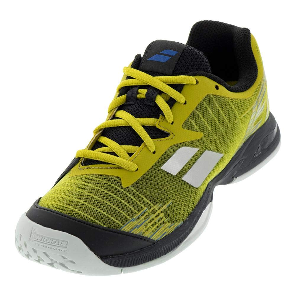 Babolat Juniors` Jet All Court Tennis Shoes Dark Yellow and Black (1.5)