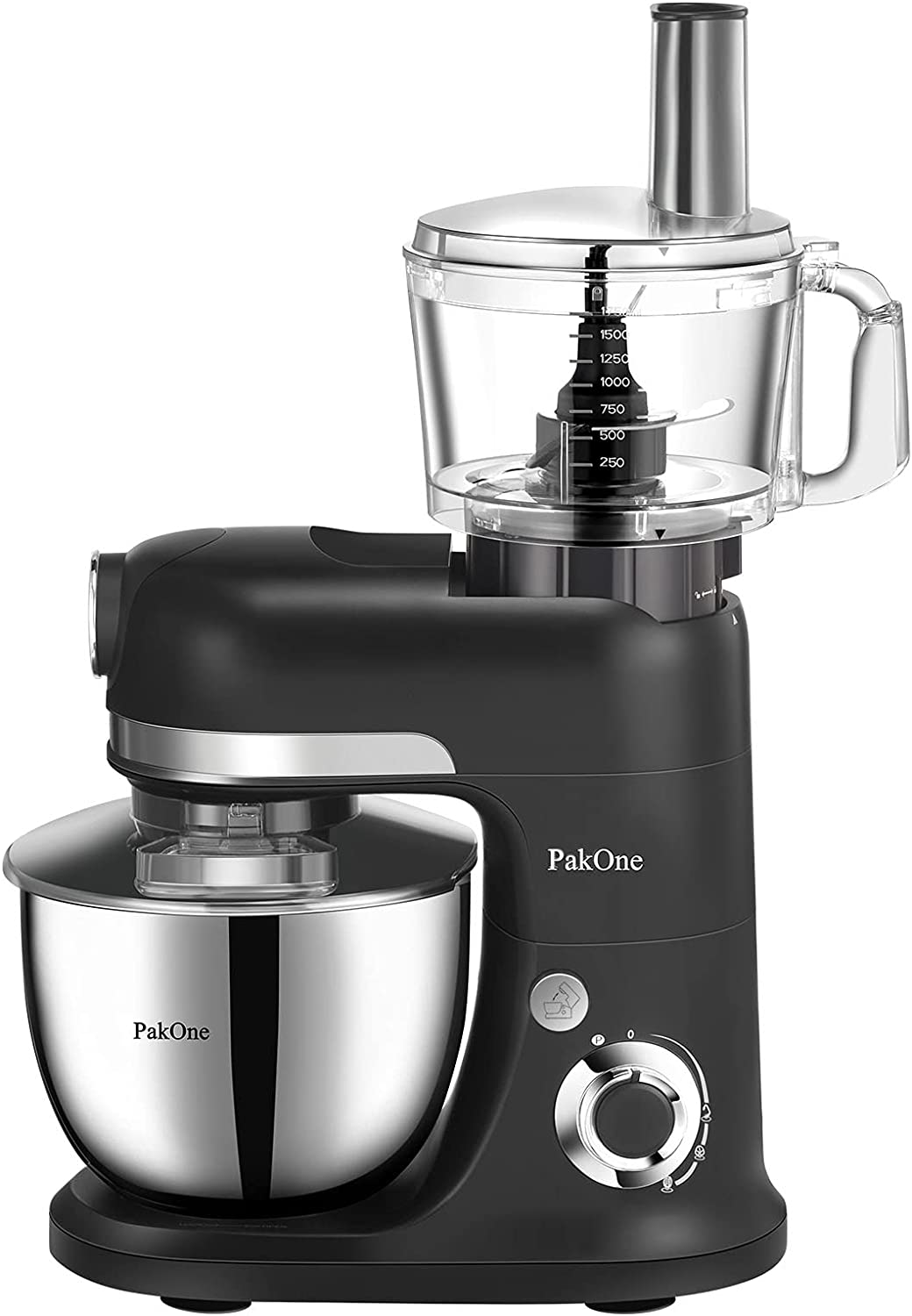 PakOne Stand Mixer, 6.5QT 800W Tilt-HeadMulti Speed+P Food Mixer, Electric Kitchen Mixer with Food Processor, Stainless Steel Bowl, Dough Hook, Wire Whip & Beater, Upgraded Transparent Cover