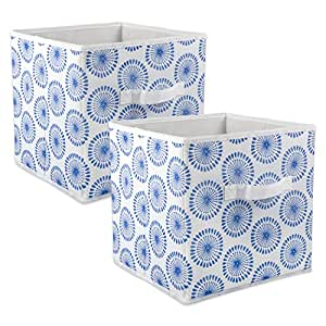 """DII Foldable Fabric Storage Containers for Nurseries, Offices, Closets, Home Décor, Cube Organizers & Everyday Storage Needs, (Large - 11 x 11 x 11"""") Starburst Blueberry - Set of 2"""