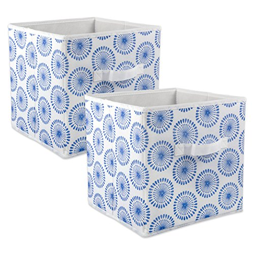 DII Foldable Fabric Storage Bins for Nursery, Offices, Home, Containers are Made to Fit Standard Cube Organizers, Small-11 x 11 x 11, Starburst Blueberry