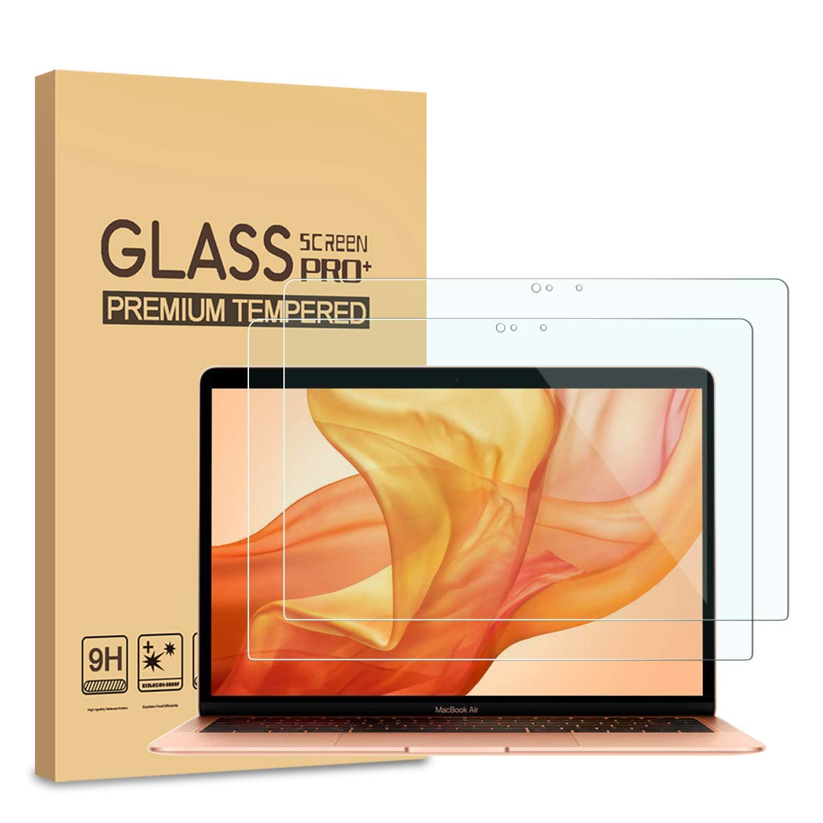 [2-Pack] Pulen Tempered Glass HD Bubble Free 9H Hardness Screen Protector for Apple MacBook Air 13.3-Inch Retina Display 2018 (A1932 Model) by PULEN