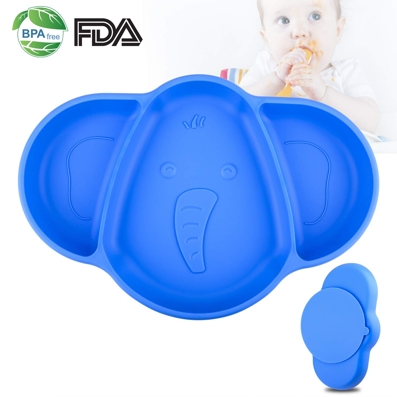 Baby Plates,Suction Plates for Toddlers,Silicone Baby Placemat With Lid for Kids Child Self Feeding,Section Baby Feeding Bowl With Suction For Baby Led Weaning,BPA Free autsmile