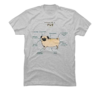 f8c2a6f8cac7 Design By Humans Anatomy of a Pug Men s Small Athletic Heather Graphic T  Shirt