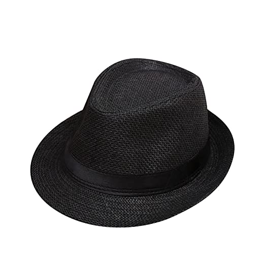 8b3f5726524 Amazon.com  Clearance Sale! VEKDONE Children Kids Summer Beach Straw Hat  Jazz Panama Trilby Fedora Hat Gangster Cap (A)  Clothing