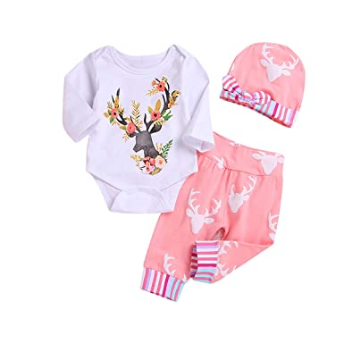 e76d757f9e3 Amazon.com  3PCS Newborn Baby Girl Flower Clothes
