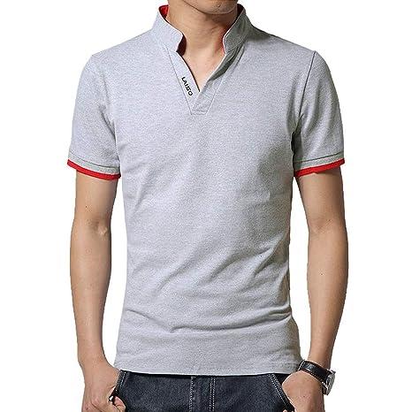 NISHISHOUZI Polo Shirt Mens Polo Shirt Slim Fit Solid Camisetas ...