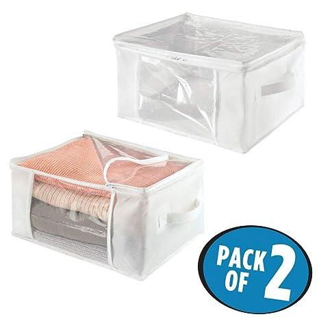 mDesign Juego de 2 cajas de almacenaje – Cajas de tela plegables de polipropileno, tamaño mediano – Cajas con tapa para ropa, ropa de cama y ...