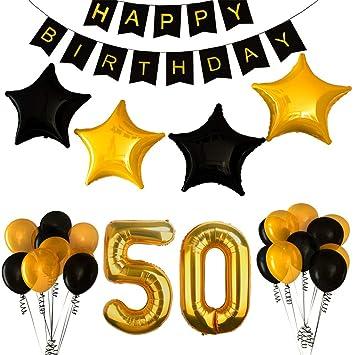 BSL 50.o Kit de Decoraciones de la Fiesta de cumpleaños, Bandera del Feliz Cumpleaños, 50.ª Globos de Número de Oro, Globos de Estrellas de látex, ...