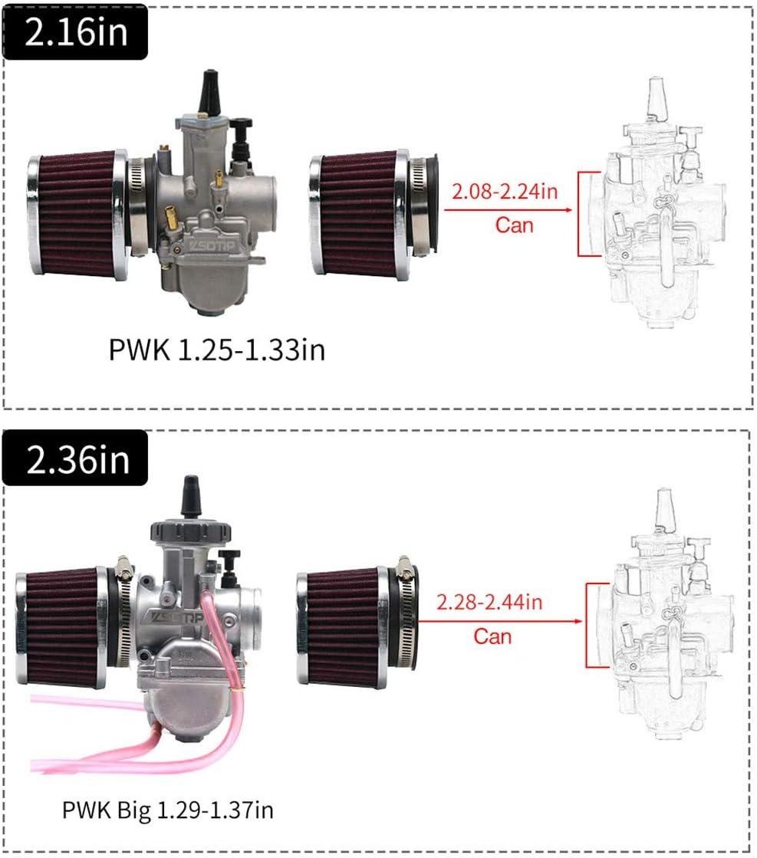 50 mm Filtre /à Air Moto Moto Accessoires Modifi/és Accessoires de Rechange de Maille En Acier /à Double Couche Technologie CNC Filtre dAdmission dAir /à Haut D/ébit Ovale 55 55 60 mm