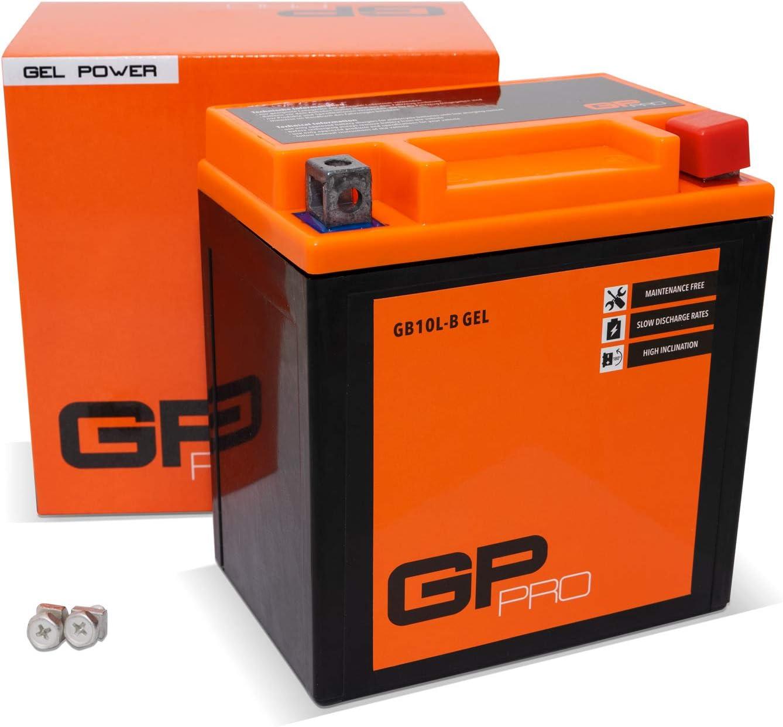 GP-PRO GB10L-B 12V 11Ah GEL Batería de arranque (compatible con YB10L-B / YB10L-B2) (Sin necesidad de mantenimiento/Sellado) Scooters y Motos Acumulador