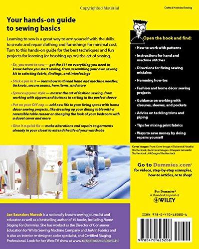 Sewing For Dummies Jan Saunders Maresh 0999994649718 Amazon Books