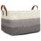 Kenox Toy Chest Baskets Woven Paper Storage Organizer Bin Laundry Hamper with Leather Handles - 16x11.5x10 inches