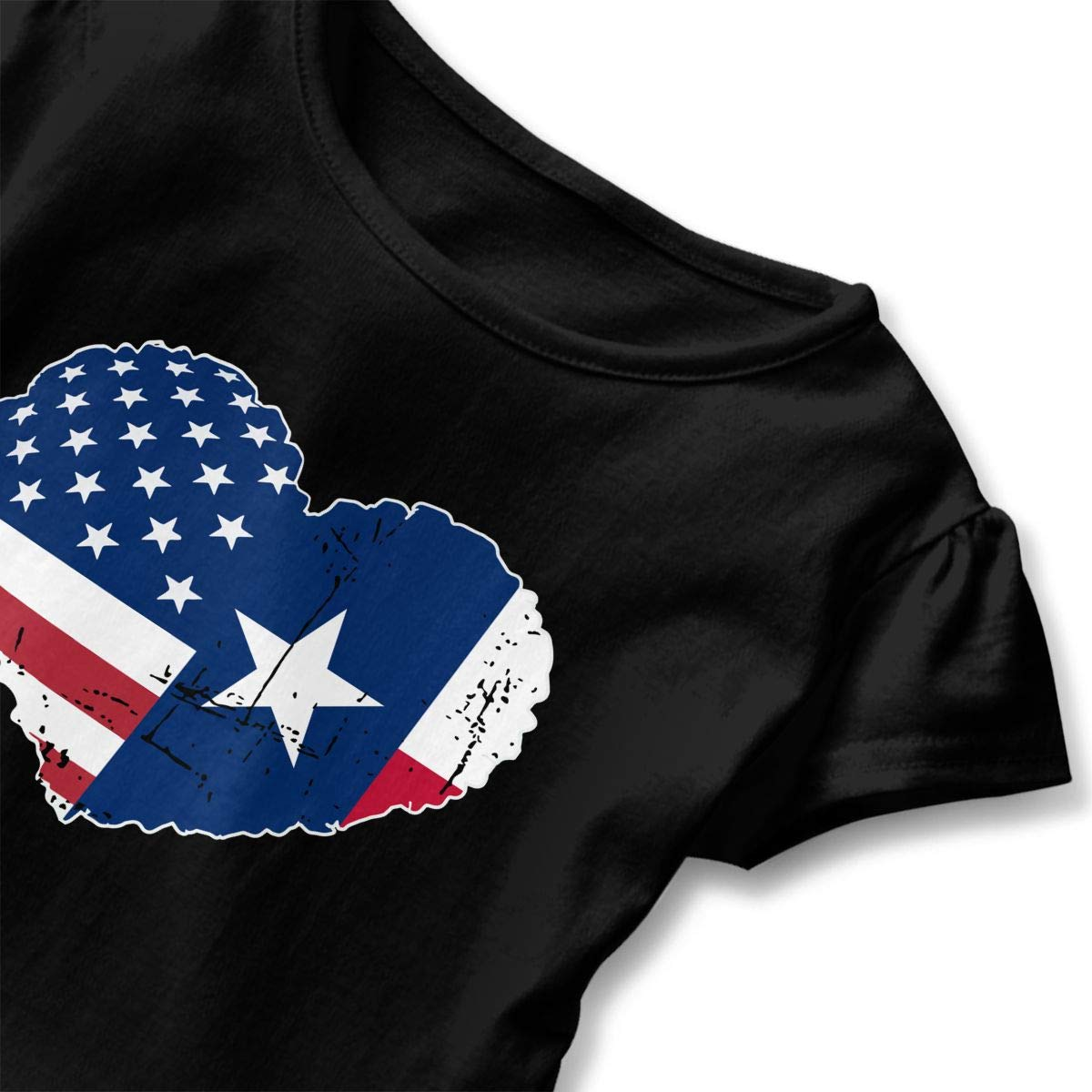 Kcloer24 Unisex Toddler Texas USA Flag Heart Personality Short Sleeve Ruffles T-Shirt Summer Clothes for 2-6 Years Old