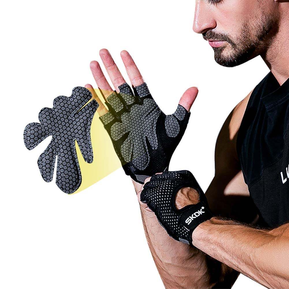 wonCacrostrans Unisex Gloves, Anti-skid Breathable Thin Half Finger Gym Fitness Sport Cycling Gloves