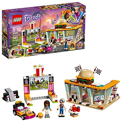 4 Legos Pack - LEGO Friends Drifting Diner 41349 Race Car and Go-Kart Toy Building Kit for Kids, Best Creative Gift for Girls and Boys (345 Pieces)