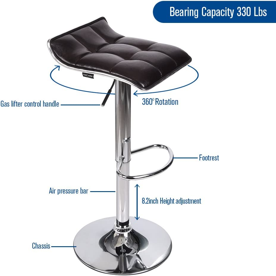 PU Leather with Chrome Base Adjustable Swivel Gas Lift Barstools Set of 2 Brown