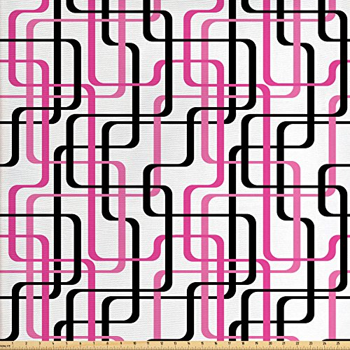 Wavy Stripe Quilt Fabric - Ambesonne Geometric Fabric by The Yard, Sixties Inspired Wavy Lines Vibrant Image Curved Stripes Funky Pattern, Decorative Fabric for Upholstery and Home Accents, Hot Pink White Black