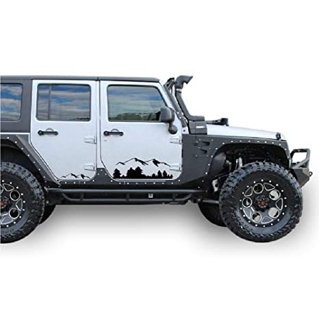 169b5d21ba4 Amazon.com  Bubbles Designs Black Mountains Decal Sticker Compatible with  Jeep Wrangler Rubicon Jk  Automotive