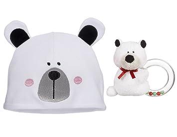 Amazon.com   Peek A Boo Polar Bear Christmas Keepsake Gift Baby Hat And  Rattle Set   Baby 0f2b8e930ef