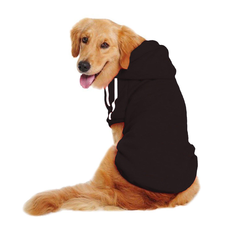 LESYPET Dog Sweater Hoodie - Big Dog Hoodies Sports Clothes, 6XL, Black