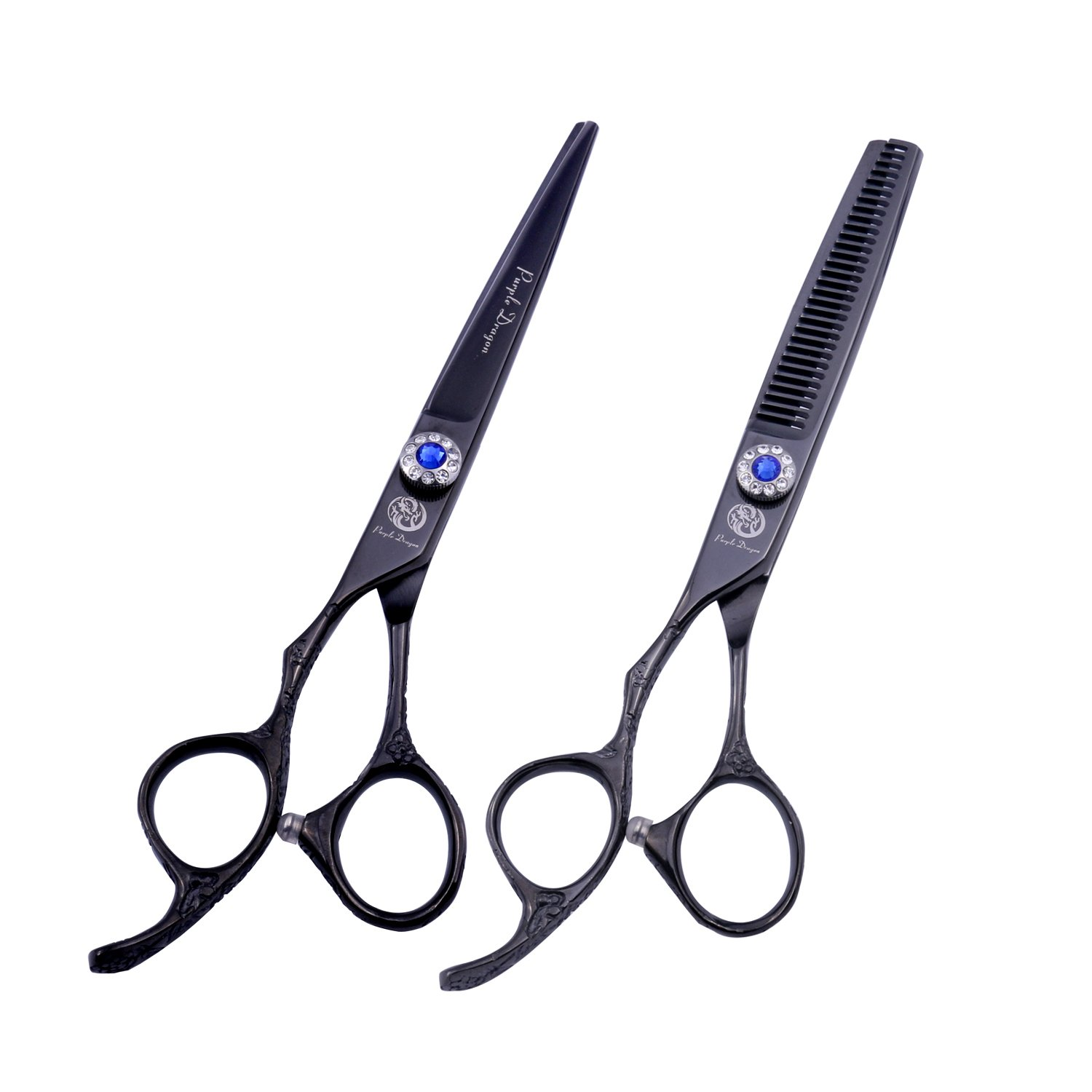 Purple Dragon 6.0 inch Professional Left-handed 440C Salon Hair Cutting Scissors - Hairdressing Thinning Shears - Perfect for Left Hand Barber and Home Use (Black)