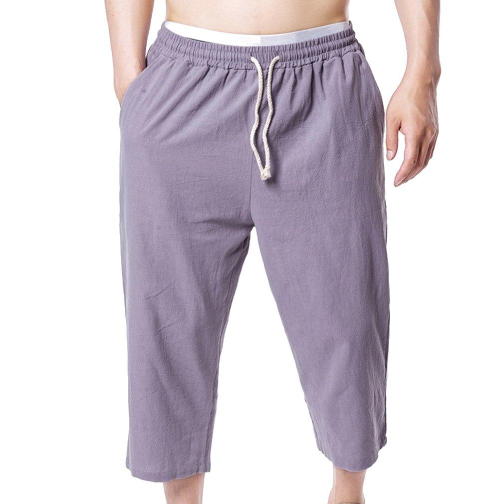 junkai Pantalones Cortos Capri 3/4 Baggy De Los Hombres Más Casuales del Verano Pantalones Casuales Bermudas