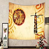 Gzhihine Custom tapestry African Tapestry Art Exotic Africa Tribal Patterns with Sun and Infinity Symbols Cultural Impressions for Bedroom Living Room Dorm Decor 60 W X 40 L Brown and Tan
