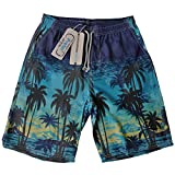 Board Shorts Mens Swimwear- Summer Quick Dry Swim Trunks-One and Only 22-Inch Boardshort-for Outdoor Travel(3XL,Blue Coco Color)