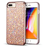 ESR iPhone 8 Plus Case, iPhone 7 Plus Case, Glitter Bling Hard Cover with Dual-Layer Structure [Hard PC Back Exterior + Soft TPU Interior] for The iPhone 8 Plus/7 Plus(Metallic Peach)