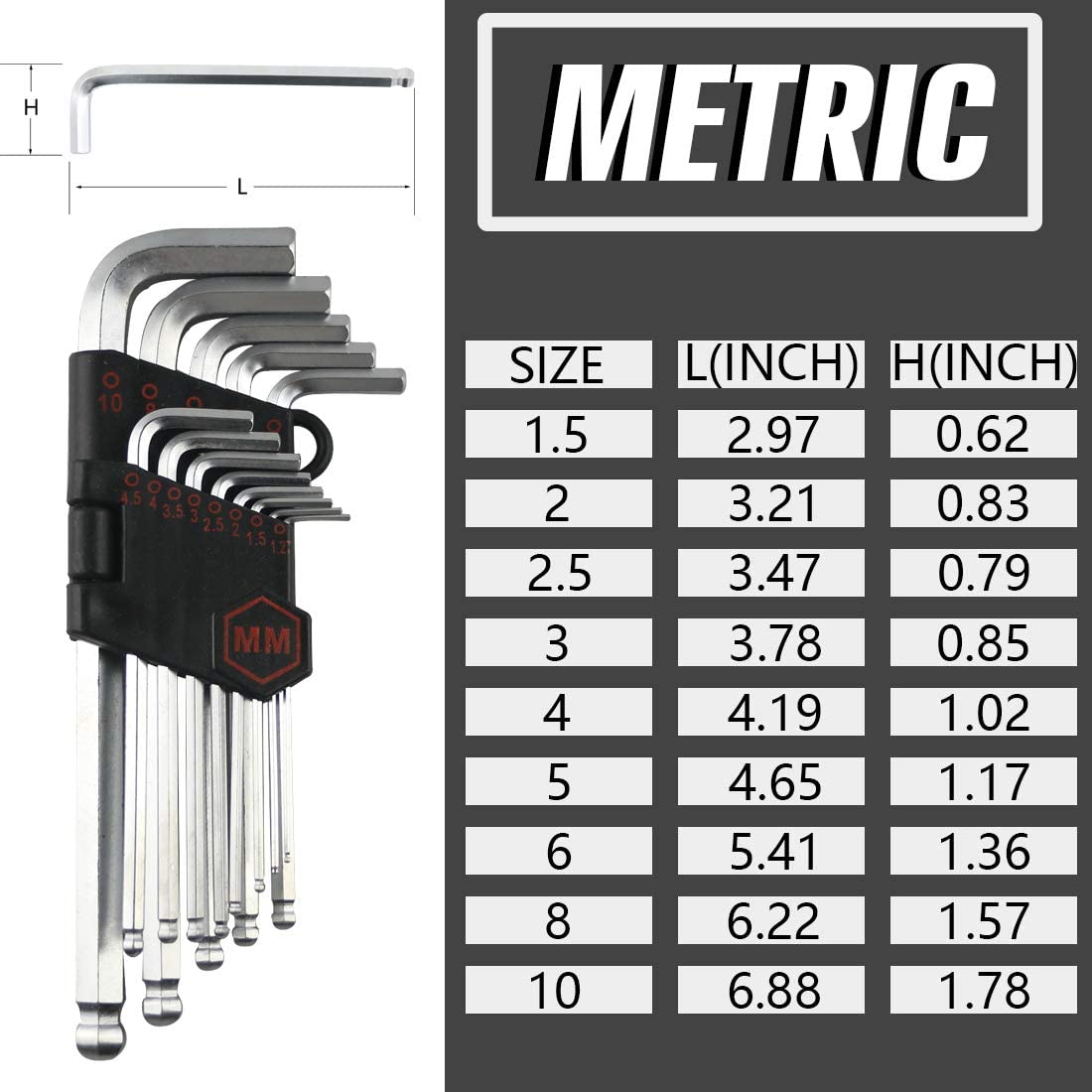 SAE//Metric//Star Torx Long Arm Ball End Hex Key Set Tools Strength Helping T Handle Zero Tools 36-Pieces Hex Key Allen Wrench Set CR-V Steel Industrial Grade Allen Wrench Set