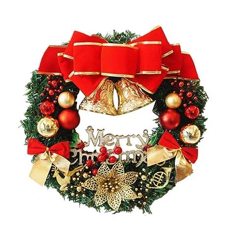Ghirlande Di Natale.Ghirlanda Di Natale 36cm Con Natale Ciondoli In Metallo Corona Appendino Gancio Festival Ghirlanda Hanging Decoration Home Red