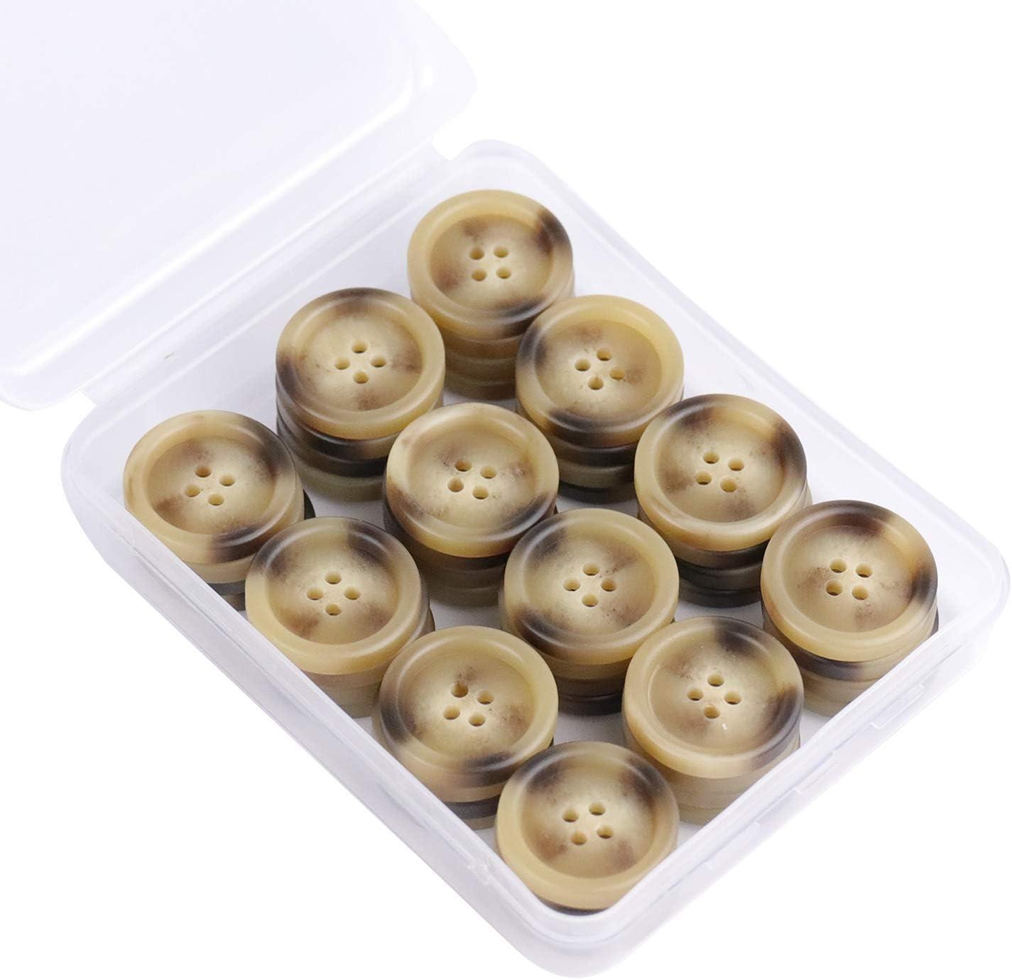 SUNTATOP Conjunto de Botones de Resina de 15 mm 150 Botones de 4 Orificios con Patr/ón de Cuerno para Camisa de Abrigo u Otra Ropa y Decoraci/ón