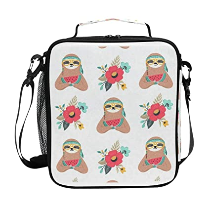 8d04f8ee2aba Amazon.com: Baby Sloth Eat Watermelon Lunch Bag Womens Insulated ...