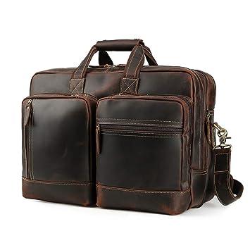 a351e314e477 Men s Vintage Leather Messenger Satchel Casual Multi-Purpose School Case  Tablet Travel Weekender Business 17