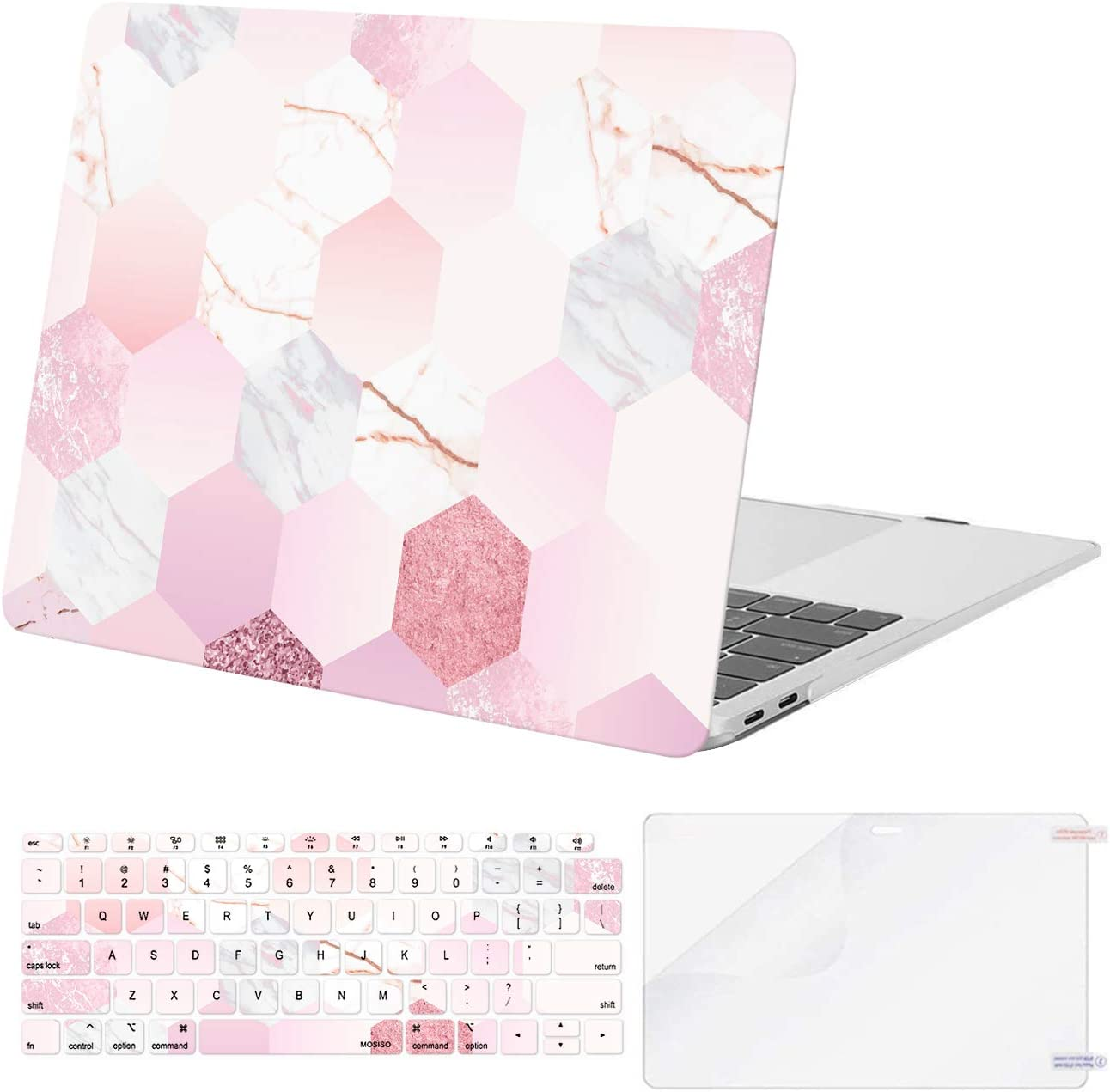MOSISO Compatible with MacBook Air 13 inch Case 2020 2019 2018 Release A2337 M1 A2179 A1932 Retina Display with Touch ID, Plastic Hexagon Marble Hard Shell Case&Keyboard Cover&Screen Protector, Pink