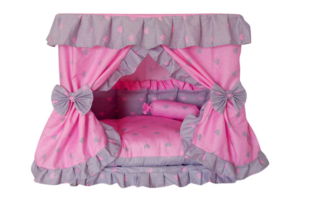 M Princess Grey Pink Heart Pet Dog Handmade Bed House+1 Candy Pillow (M)