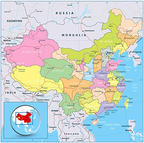 Gifts Delight Laminated 24x24 Poster: Political Map - Map China