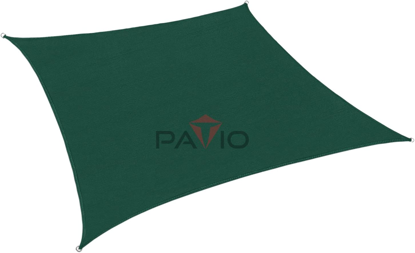 Patio Paradise 12 x12 Dark Green Sun Shade Sail Square Canopy – Permeable UV Block Fabric Durable Patio Outdoor