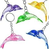 German Trendseller 6 x Kristall Delfin - Anhänger für Kinder - Neu - ┃ Farb - Mix ┃ Kindergeburtstag ┃ Mitgebsel ┃ Delfine ┃ 6 Stück