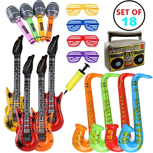 table Guitar Saxophone Microphone Toys for Party Bags Decorations Rock Star Toy Set Inflatable Party Props (Random Color) (Rock Sets Saxophone)